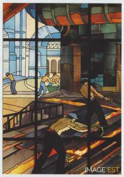 Vitrail des anciens grands bureaux des Aciéries (Longwy)