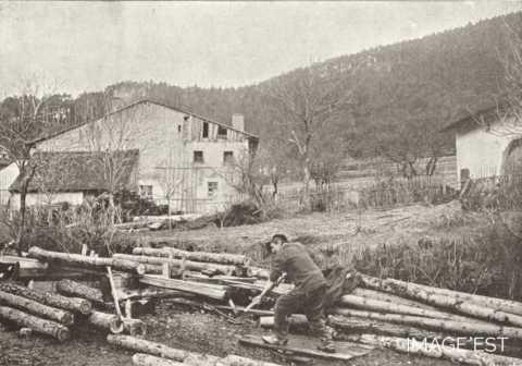 Forage des tuyaux de fontaine (Vosges)